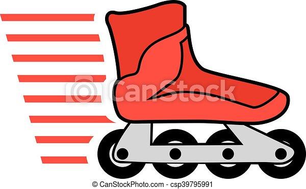 Rosso Pattini A Rotelle Pattini Disegno Rullo Rosso Creativo