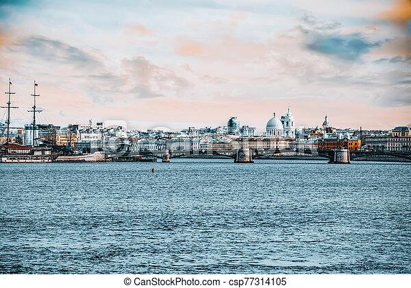 rostral, russia., petersburg., island., columnas, vasilievsky, santo, saliva - csp77314105