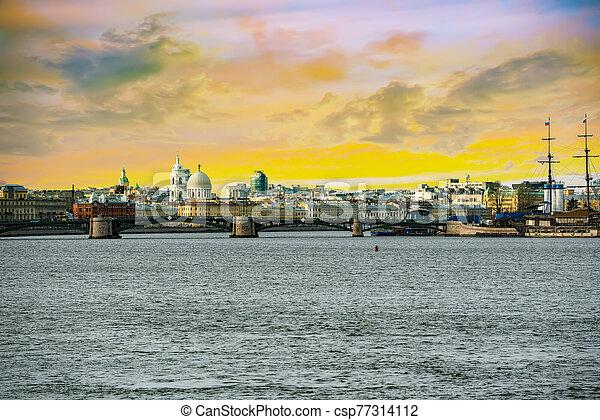 rostral, russia., petersburg., island., columnas, vasilievsky, santo, saliva - csp77314112