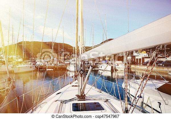 Rostrum of a modern yacht. Port of la Spezia, Italy - csp47547967