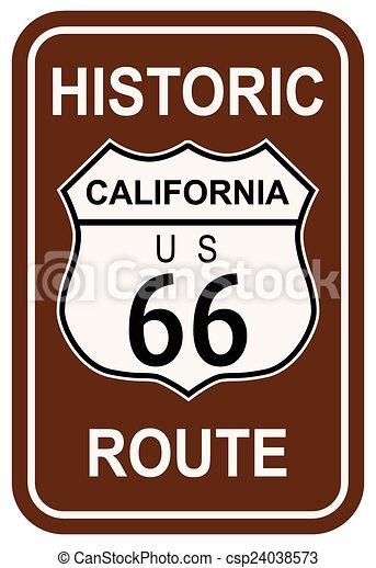 rota, histórico, califórnia, 66 - csp24038573