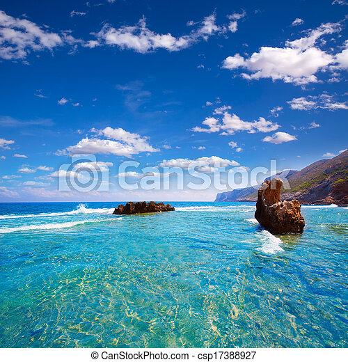 rotas, roccioso, denia, alicante, spiaggia, spagna, las - csp17388927