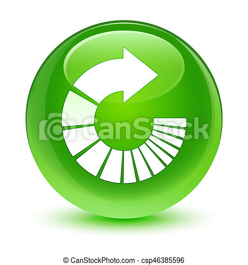 Rotate arrow icon glassy green round button - csp46385596