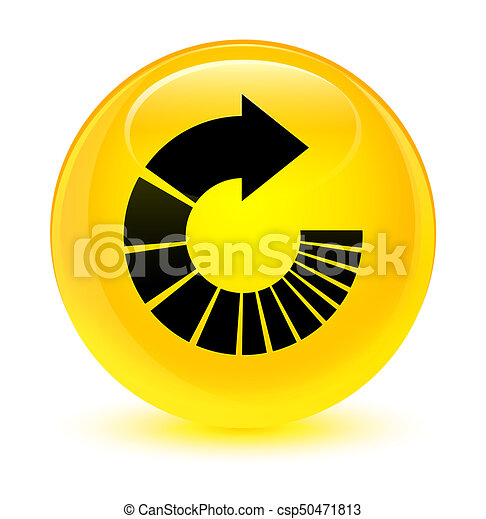 Rotate arrow icon glassy yellow round button - csp50471813