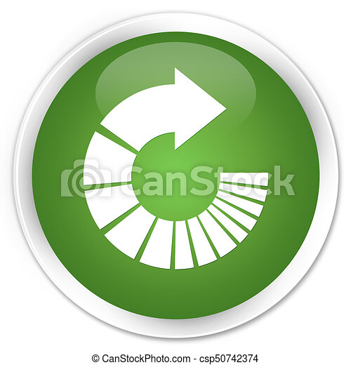 Rotate arrow icon premium soft green round button - csp50742374