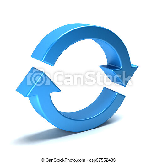 Rotate arrows. Concept for a cycle, loop, continuous period. 3D rendering illustration - csp37552433