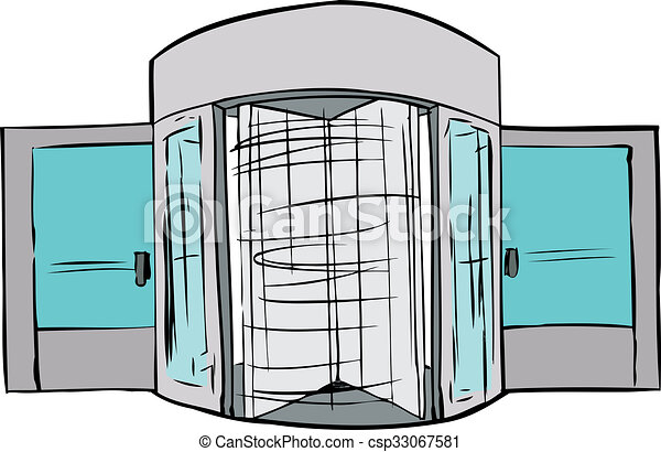 Rotating Evolving Door - csp33067581  sc 1 st  Can Stock Photo & Rotating evolving door. Hand drawn illustration of spinning... stock ...