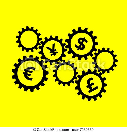 Rotating Gears With Currency Symbols Inside On Yellow Background