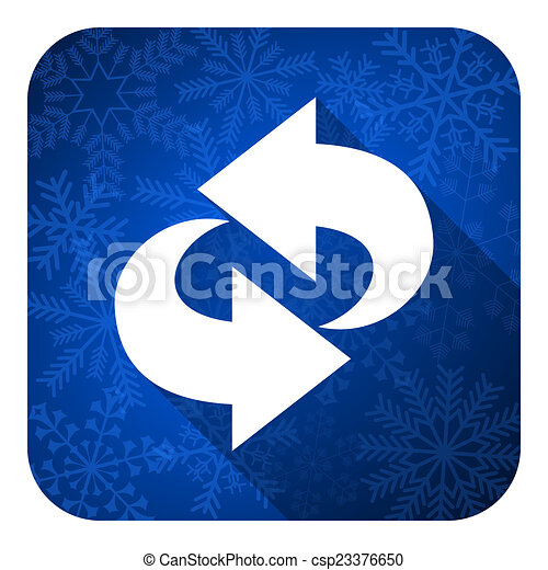 rotation flat icon, christmas button, refresh sign - csp23376650