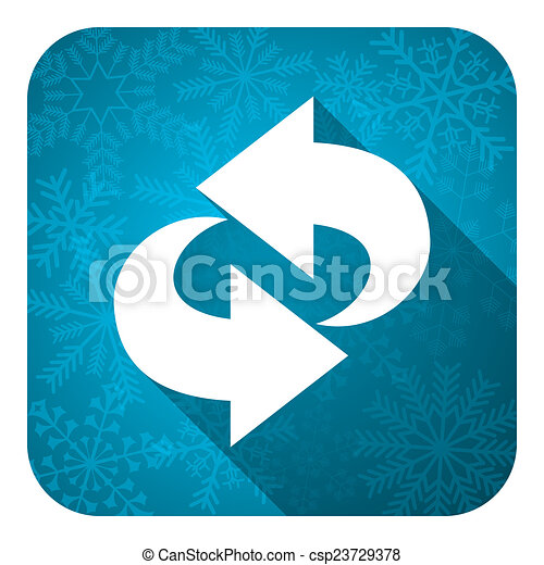 rotation flat icon, christmas button, refresh sign - csp23729378