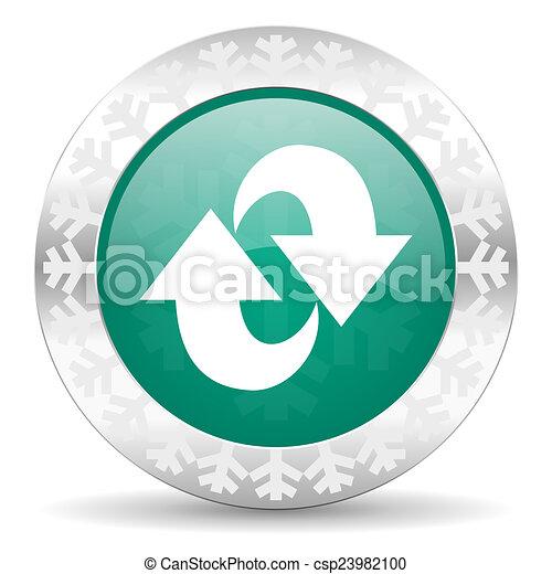 rotation green icon, christmas button, refresh sign - csp23982100