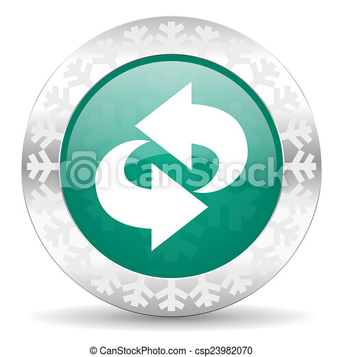 rotation green icon, christmas button, refresh sign - csp23982070