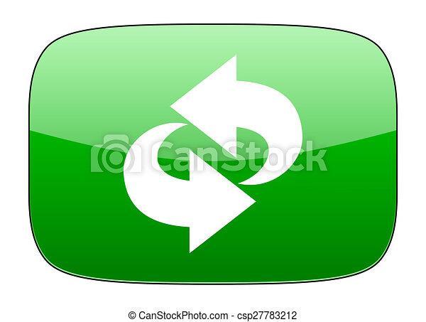 rotation green icon refresh sign - csp27783212