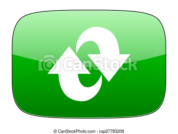 rotation green icon refresh sign - csp27783208