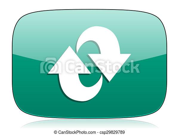 rotation green icon refresh sign - csp29829789