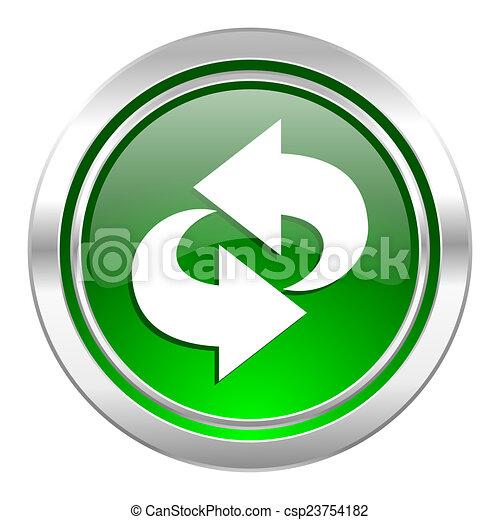 rotation icon, green button, refresh sign - csp23754182