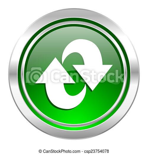 rotation icon, green button, refresh sign - csp23754078