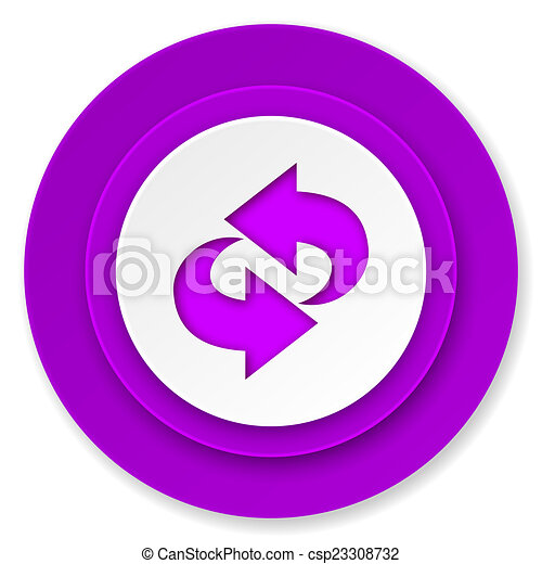 rotation icon, violet button, refresh sign - csp23308732