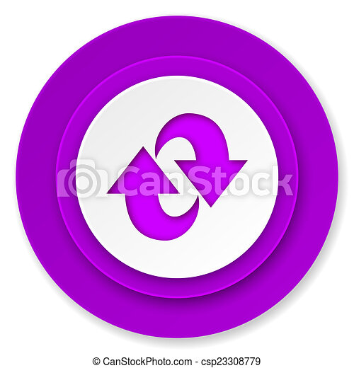 rotation icon, violet button, refresh sign - csp23308779