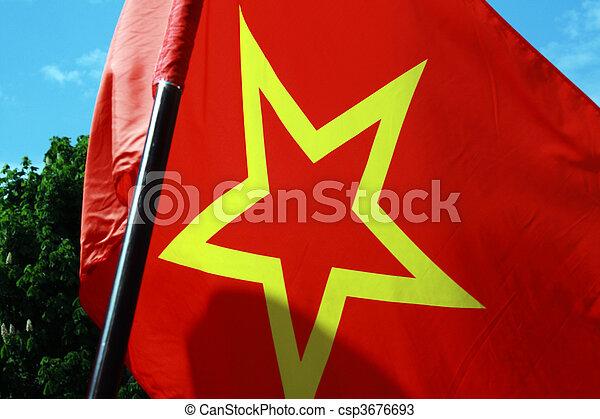 Mit fahne gelben stern rot Flagge blau