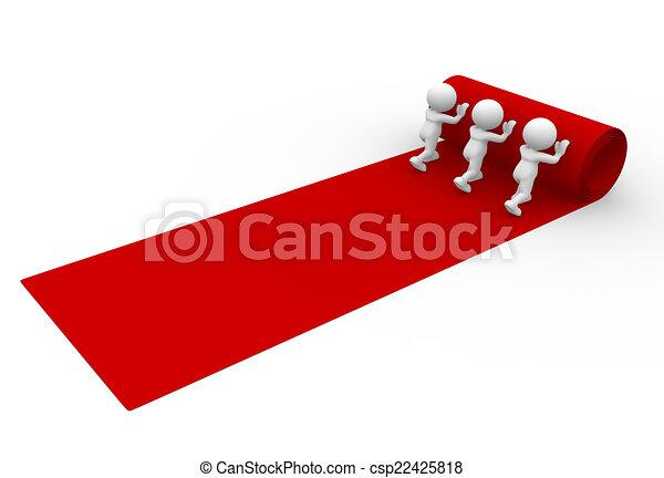 Teppich clipart  Clipart von roter teppich - leute, -, 3d, person, heraus rollen ...