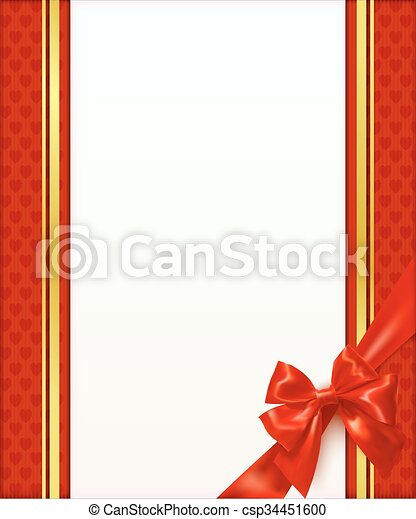 Rotes , schablone, grüßen karte, schleife. Ribbon., gruß,... Vektor ...