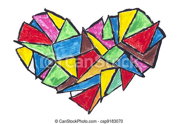 Un concepto abstracto del corazón roto - csp9183070