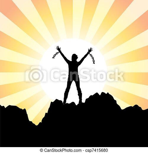 Chica con las manos levantadas y cadenas rotas - csp7415680