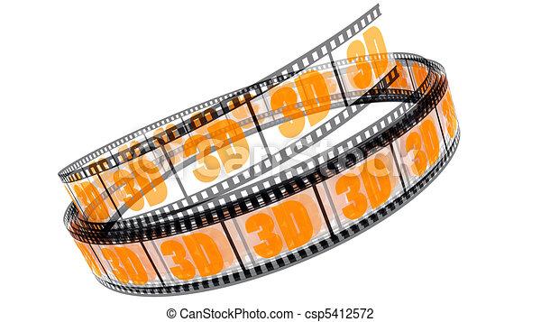rotolato, film, 3d - csp5412572