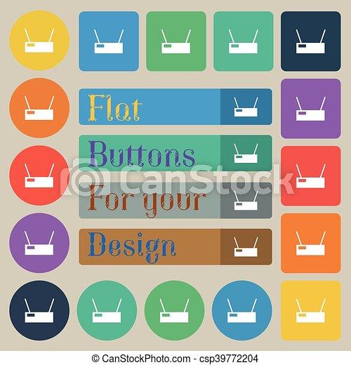 rotondo, set, colorato, appartamento, venti, segno., rettangolare, vettore, quadrato, icona, wi-fi, buttons. - csp39772204