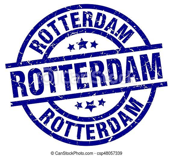Rotterdam blue round grunge stamp - csp48057339