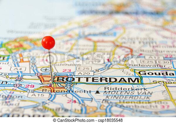 Holland Europe Map.Rotterdam Map Rotterdam Holland Europe Push Pin On An Old Map