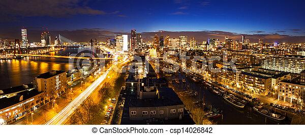 Rotterdam night skyline - csp14026842