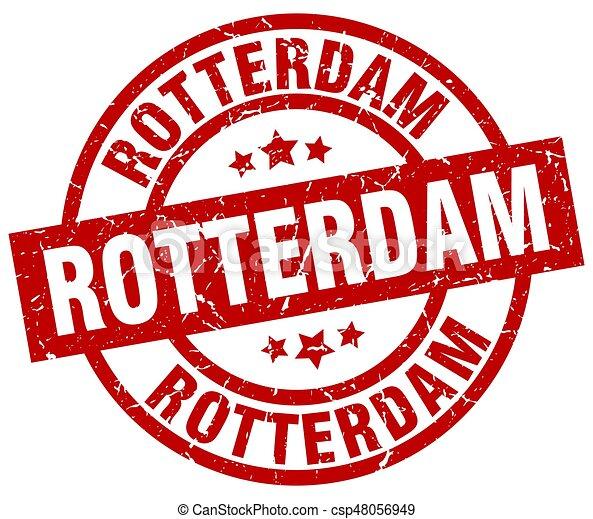 Rotterdam red round grunge stamp - csp48056949