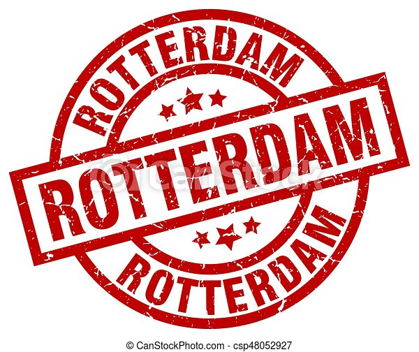 Rotterdam red round grunge stamp - csp48052927