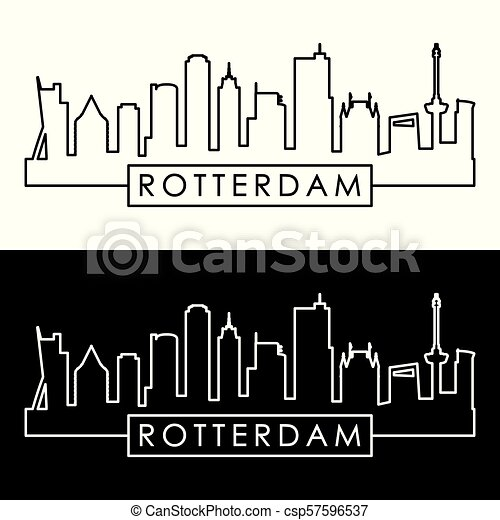 Rotterdam skyline. Linear style. - csp57596537