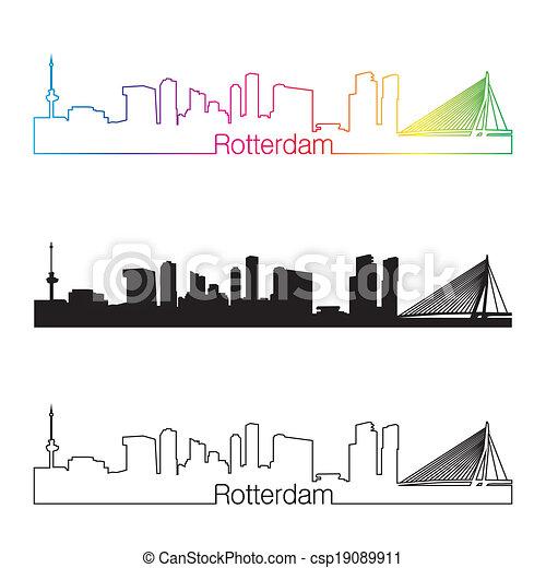 Rotterdam skyline linear style with rainbow - csp19089911