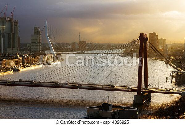 Rotterdam sunset bridges - csp14026925