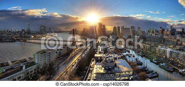 Rotterdam sunset panorama - csp14026798