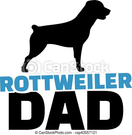 rottweiler dad with dog silhouette rh canstockphoto com rottweiler clip art images rottweiler clipart black and white