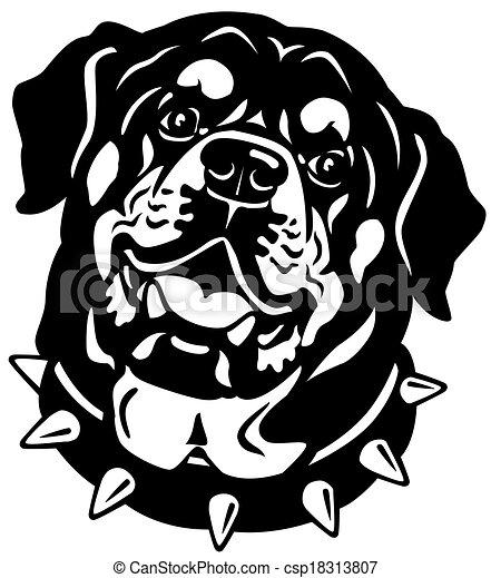 rottweiler head black white dog head rottweiler breed vector rh canstockphoto com rottweiler cartoon clipart rottweiler clipart black and white