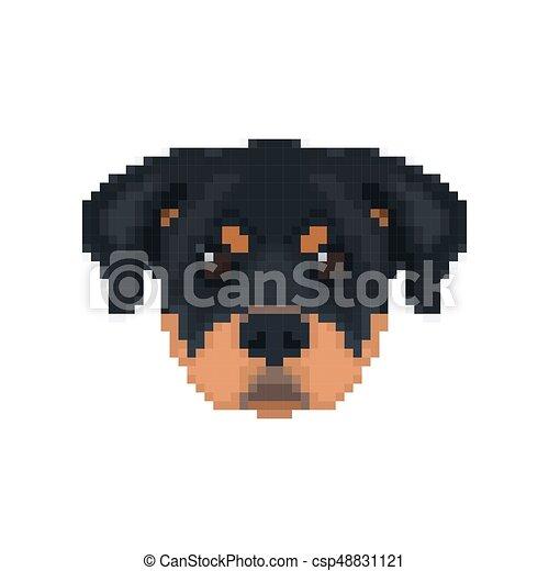 Rottweiler Head In Pixel Art Style