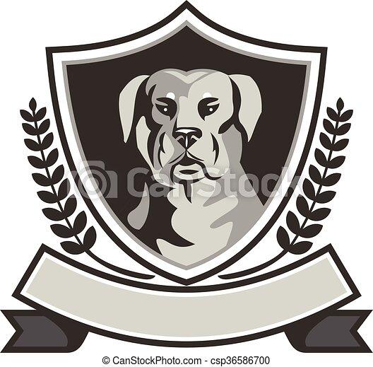 Rottweiler Head Laurel Leaves Crest Black and White - csp36586700