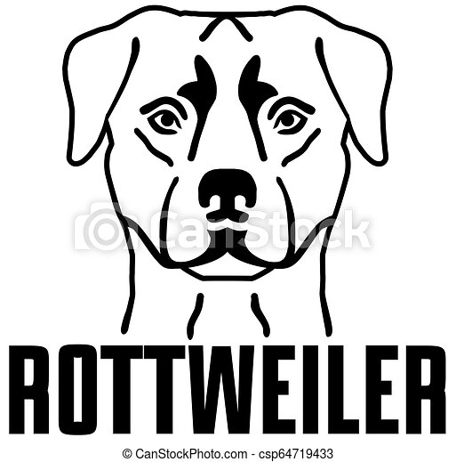 Rottweiler head with name - csp64719433