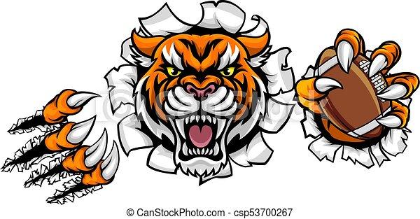 Bola de fútbol americano tigre rompiendo fondo - csp53700267