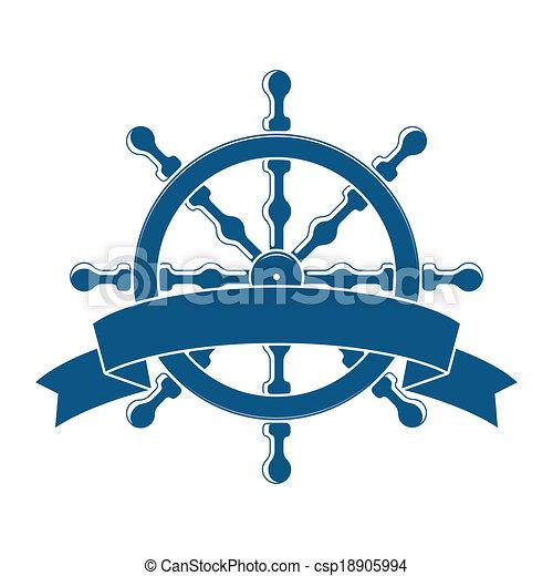 roue, banner., emblem., vecteur, nautique, bateau - csp18905994