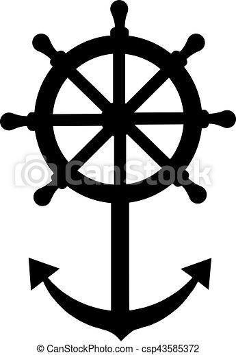 Roue bateau direction ancre - Dessin ancre bateau ...