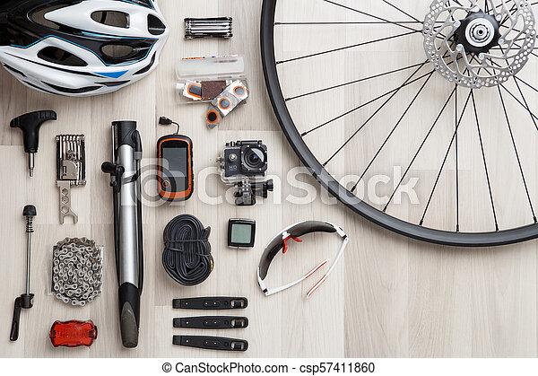 roue bicyclette, arrière-plan., siège, image, tire., bois, objets, barre, casque - csp57411860