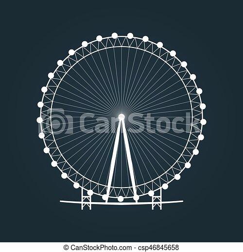 roue, ferris, silhouette. - csp46845658