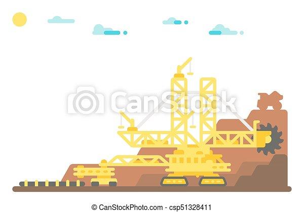 roue, plat, exploitation minière, excavateur, seau, conception, fond - csp51328411